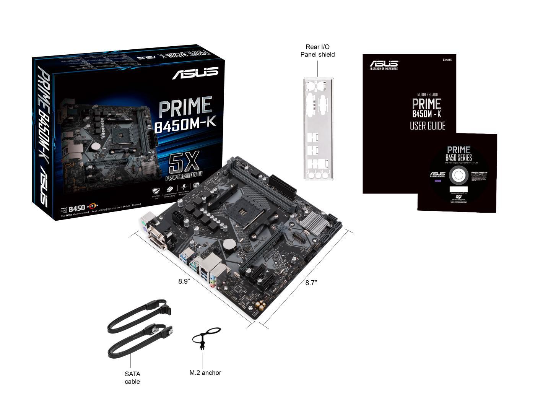 Asus PRIME B450M-K Micro ATX AM4 Motherboard