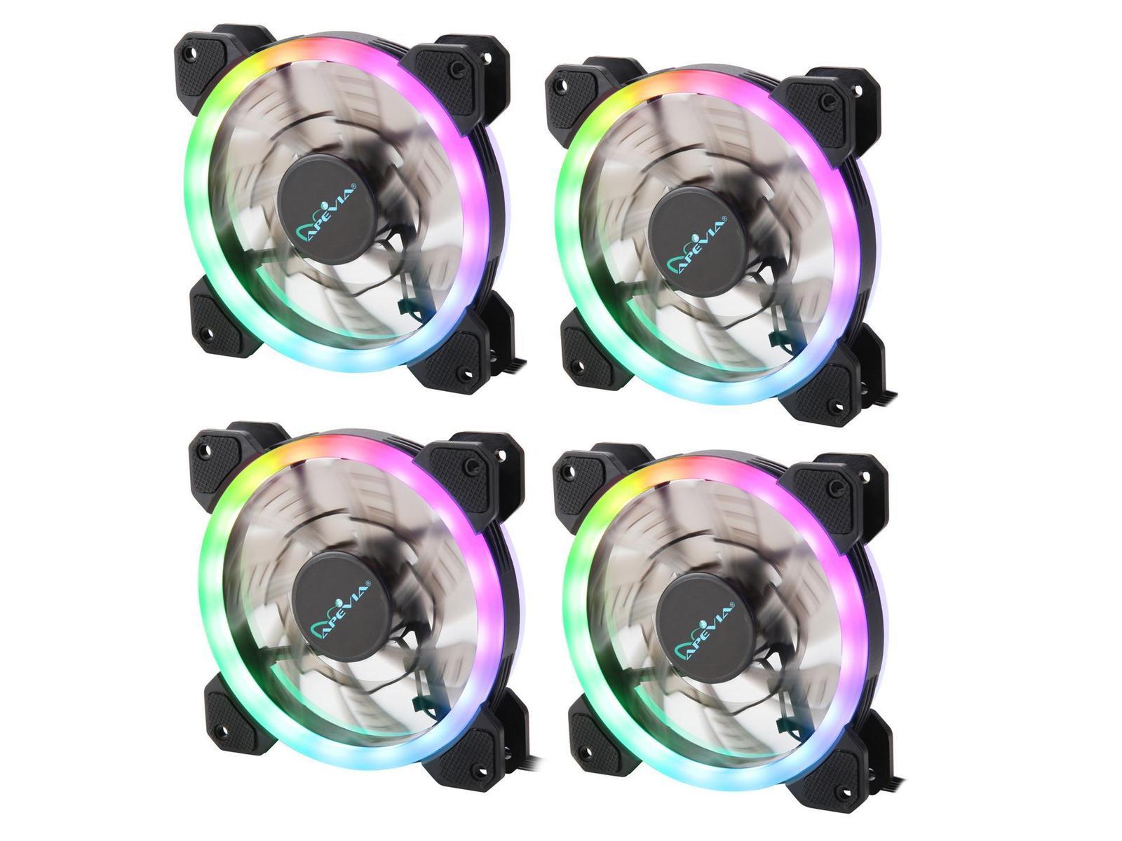 Apevia 412L-RGB Spectra 57.67 CFM 120 mm Fans 4-Pack